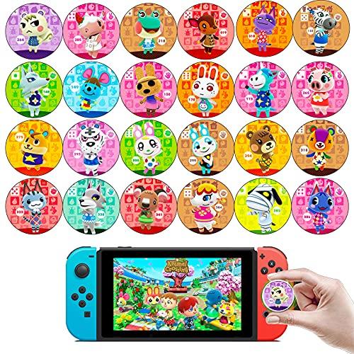 Tarjetas NFC para Animal Crossing Switch, ACNH Rare Character Card con Estuche de Cristal es Compatible con Nintendo Switch / Wii U / Switch Lite / New 3DS (1-24 Tarjeta de Residente, Redonda)