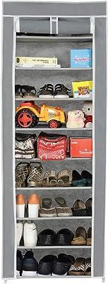 Happer Premium 9-Tiers Shoe Rack/Multipurpose Storage Rack with Dustproof Cover, (Grey)