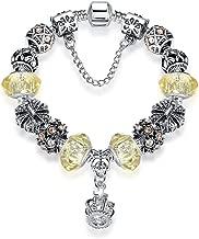 Silver Antique 925 Charm Bracelet For Women Royal Crown Bracelet Bangle Yellow Crystal Beads DIY Jewelry