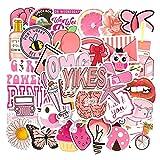 /Set de dibujos animados Vsco Pegatinas Rosa Ins Estilo Mariposa de Fresa Etiqueta Para Portátil Equipaje Motocicleta Teléfono Monopatín 50pcs