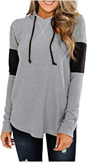 OULSEN Women Fashion Splice Hoodies Autumn Casual Loose Pullover Blouse Top Hooded Sweatshirt