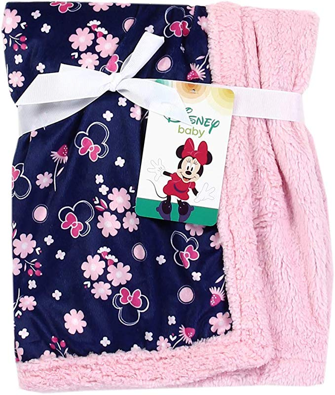 Minnie Mouse Soft Mink Sherpa Baby Blanket Navy Pink 30 X 30