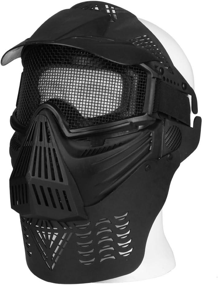 Flexzion Máscara táctica para airsoft y paintball, protección de cara completa, esqueleto de cráneo, protector de seguridad en plata para actividades al aire libre, fiesta de películas, accesorios par