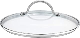 GOURMEX Tempered Glass Cookware Lid with Stainless Steel Rim and Sturdy Riveted Handle To Fit Pots, Frying Pans and Skillets, Dishwasher and Oven Safe, Heat Resistant (9.45