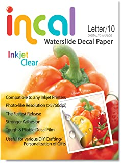 [Incal Paper] Waterslide Decal paper INKJET CLEAR, Letter size(216x279mm) 10sheets, DIY Photo Printing Craft, Real Photo-grade resolution, Stronger adhesion/fast releaing, Pliable Decal Film (Clear)