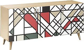 NyeKoncept 13004469 Organic Modernism Flare Sideboard44; Natural & Brass