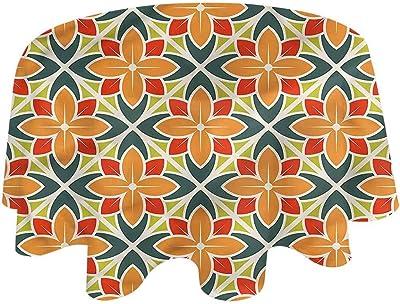 Details about  /Round Tablecloth Retro Mid Century Mod Geometric Vintage 1950S Cotton Sateen
