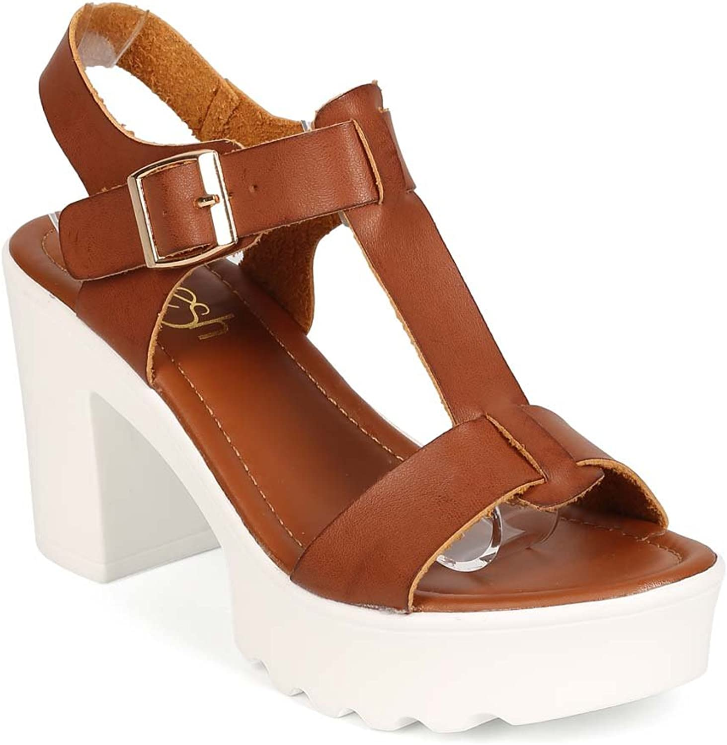 Refresh Women Leatherette Open Toe T-Strap Low Block Heel Sandal EE12 - Tan