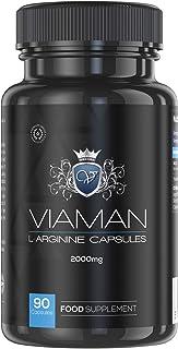 L-Arginina Pura 2000 mg Viaman - Aumenta Rendimiento Masculino - Potencia Crecimiento Muscular y Calidad de las Relaciones - Estimulador natural, Vasodilatador - Suplemento Deportivo - 90 Cápsulas