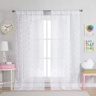 Lala + Bash - Kellyann Semi-Sheer Printed Metallic Heart Pattern Pole Top Window Curtains for Living Room & Bedroom - Assorted Colors - Set of 2 Panels (37 X 96 Inch - White)