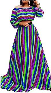 Losait Womens Rainbow Off-Shoulder Full Circle Party Dresses Skirt Suits