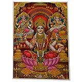 Bild Lakshmi Ganesha Sarasvati Lotus 100 x 70 cm Diwali