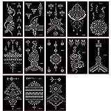Kotbs 15 fogli Henné Tattoo Stencil Kit Temporaneo Tatuaggio Stencil Arabian Tattoo Adesivi per Pittura Viso Body Art