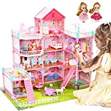 CUTE STONE Huge Dollhouse with Colorful Light, Doll Dream House Includes 2 Dolls, 32' x 28' Dreamhouse with 11 Rooms and Furniture, Doll Accessories, Gift for Girls and Toddlers