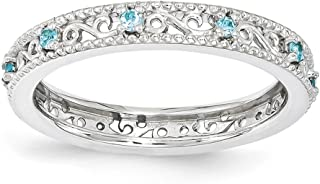 3mm Sterling Silver Stackable Expressions Blue Topaz Scroll Band