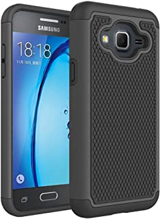 Galaxy J3 2016 Case,Galaxy J3V Case,Galaxy J3 6 Case,Galaxy Amp/Express Prime Case,Galaxy Sky/Sol Case,Asmart Shockproof Dual Layer Protective Cover Phone Case for Samsung Galaxy J3 V 2016 (Black)