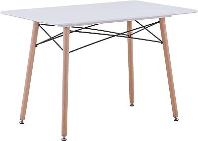 Uderkiny Table à Manger avec comptoir en MDF/Verre, Table Rectangle pour 4-6 Personnes, adaptée à la Table de Balcon de la Cuisine du Restaurant, etc. (Blanc 02)