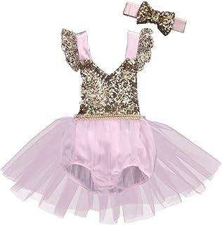 bdf5067ee6248 Baby Toddler Girls Sequins Birthday Princess Tulle Ruffle Romper Tutu Dress