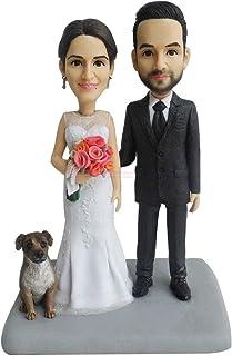 topper torta nuziale con figurina di cane fare un mini bobblehead personalizzato me statua di cane figurina coppia toppers...