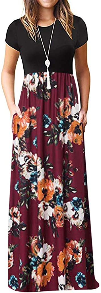 Hemlock Women Short Sleeve Dress O Neck Floral Maxi Dresses Slim Office Lady Dress Party Long Dress with Pockets