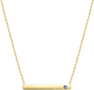PAVOI 14K Gold Plated Swarovski Crystal Birthstone Bar Necklace | Dainty Necklace | Gold Necklaces for Women |