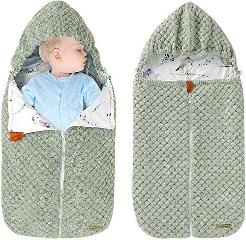 Envoltura Swaddle Ropa De Cama para Bebés Recién Nacidos Manta De Algodón Saco De Dormir Algodón, Mantas Suaves Saco De Dormir para Bebés Niñas Niños,Verde