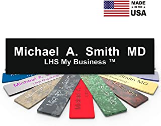 LHS My Business | Engraved Desk Name Plate Personalized Black Plastic Office Sign White Letters | USA Desk Decor 2x10 - B2