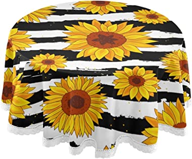 ALAZA Sunflower Round Tablecloth Polyester Lace Table Covers Circle Table Cloth 60 Inch for Birthday Party Wedding Holiday Ki