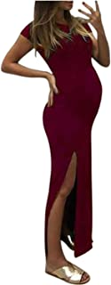DSJTCH Maternity dresses casual Fashion Women Solid Short Sleeve Bodycon Open Fork Pregnancy Maternity Dress (Color : Red,...