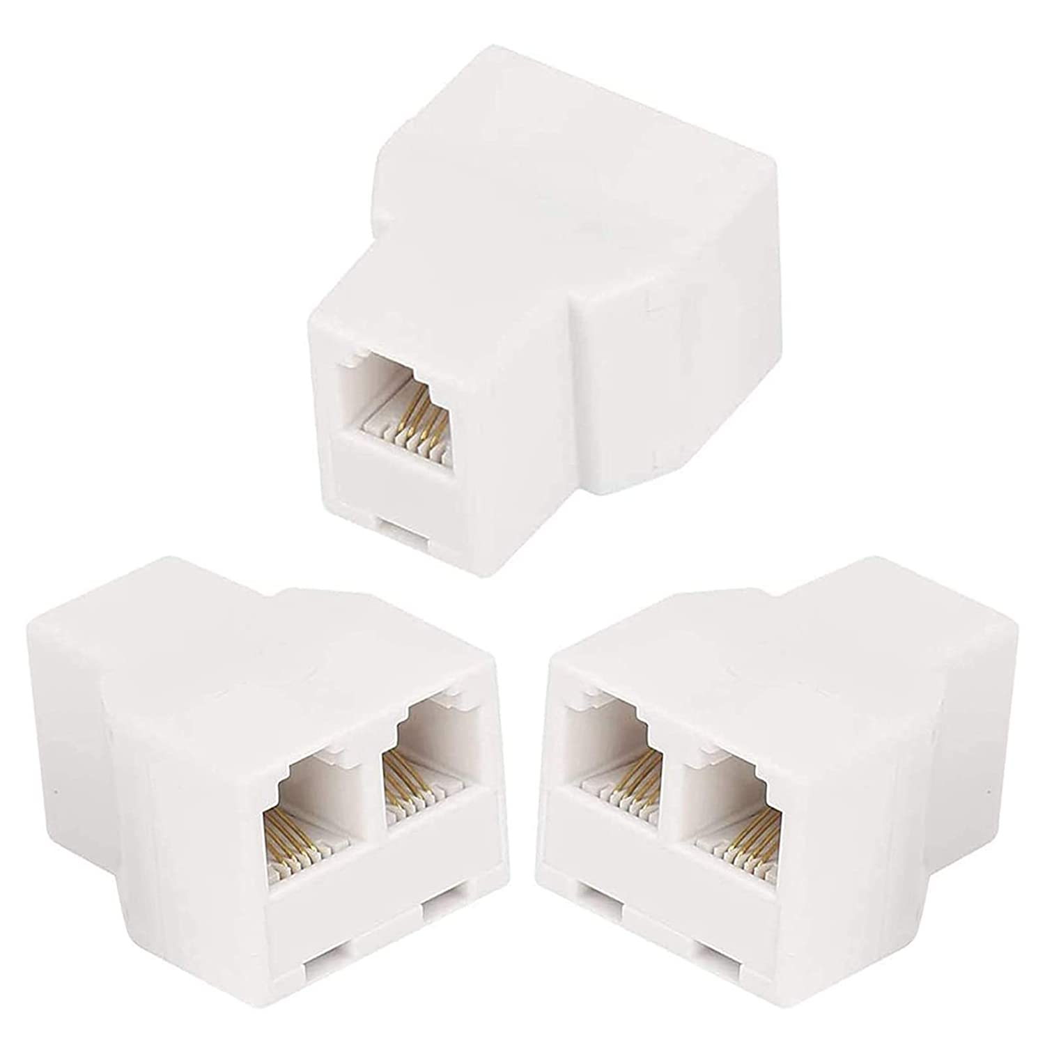 RJ11 6P4C 3Female Telephone Splitter Adapter Cable,Telephone Landline Cable Connector and Separator(3Pack,White)