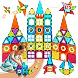 Magnetic Tiles 115pcs STEM Construction Set Clear Magnetic 3D Building Blocks Tiles for Kids 3 4 5 6 7 Years Old Boys Girls Gift