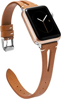 Wearlizer Brown Leather Compatible with Apple Watch Bands 38mm 40mm for iWatch Womens Mens Special Triangle Hole Sport Straps Wristband Cool Replacement Bracelet (Metal Silver Buckle) Series 5 4 3 2 1