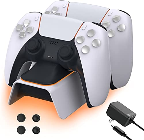 NexiGo Upgraded PS5 Controller Charger with Thumb Grip Kit, Fast Charging AC Adapter, Dualsense Charging Station for ...