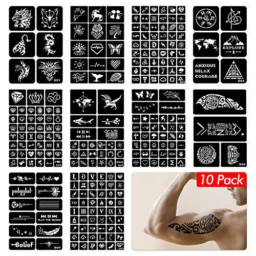 FEIGO 260 Stück Tattoo Schablonen Kit Wiederverwendbar Glitter Temporäre Tattoos Schablone Party Vorlagen für Körperbemalung Selbstklebende Tätowierung Sticker für Körper Henna (10 Blätter)