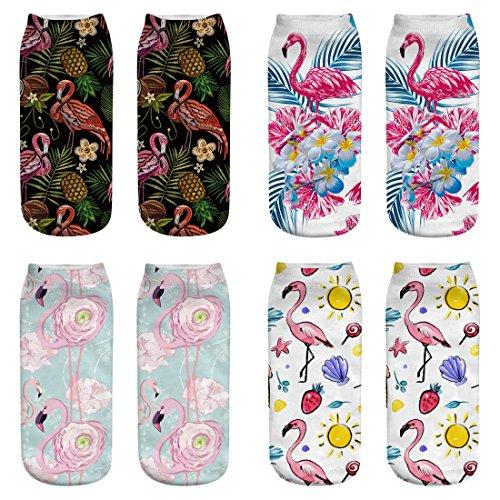 ERJO Women's Cotton Ankle Socks 3D Unicorn Flamingo Printed Halloween Low Cut No Show Socks Pack Set 4 PACK-Flamingo B SC11