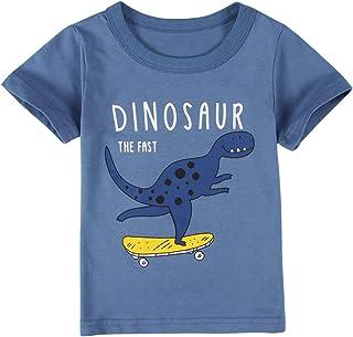 MODNTOGA Toddler Baby Boys Dinosaur T-Shirt Kids Cotton Short Sleeve Shirt Crew Neck Graphic Tee