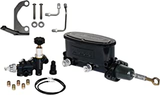 NEW WILWOOD BLACK ALUMINUM TANDEM CHAMBER MASTER CYLINDER WITH ADJUSTABLE COMBINATION PROPORTIONING VALVE, MOUNTING BRACKET, AND LINES FOR 64-73 FORD MUSTANG, DUAL OUTLET CYLINDER, 1964, 1965, 1966