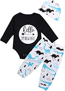 Baby Boy Clothes Hello Im New Here Letter Print Romper Dinosaur Pattern Long Pants Hat 3PCS Outfits Set