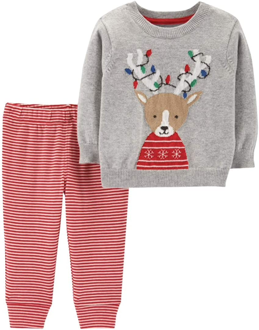 Carter's Baby Reindeer Sweater & Striped Pants Set - Newborn