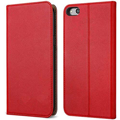 FDTCYDS Huawe P8 Lite,P8 lite Handyhülle, Premium Leder Handy Schutzhülle Flip Hülle Tasche für Huawei p8 Lite - Rot