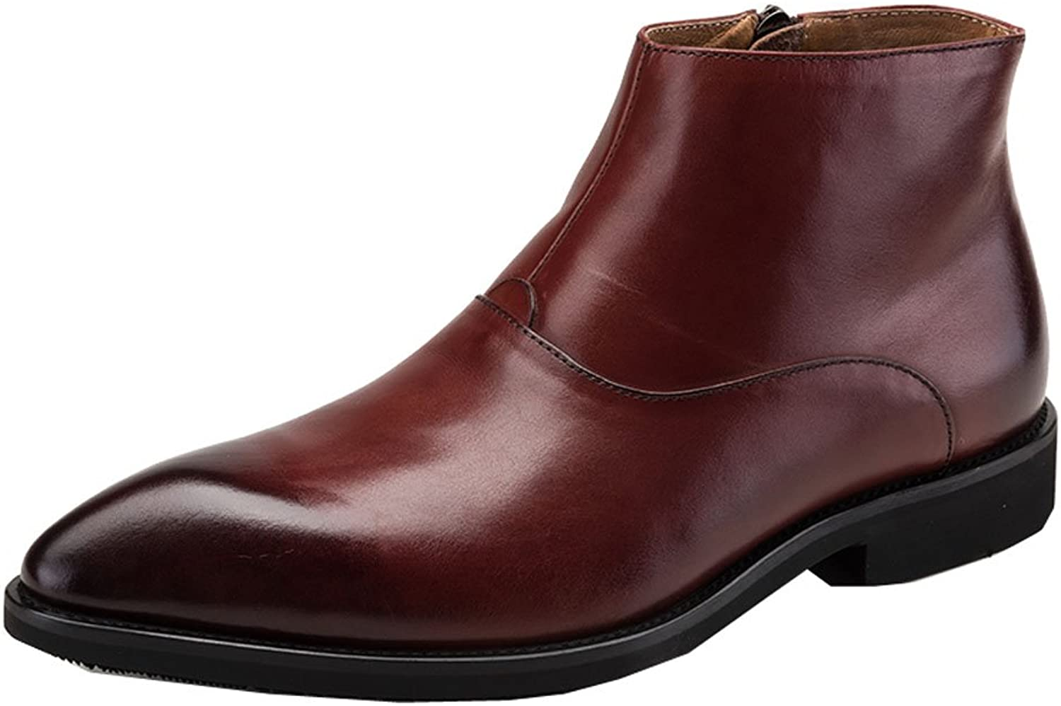 MedzRE Men's Winter Leather Ankle Boots with Side Zipper