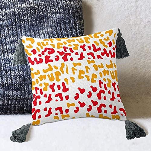 Funda de cojín de Piel de Leopardo con Manchas abstractas para sofá Cama, Estilo Blanco, 2 Funda de Almohada de 10 x 10 Pulgadas con borlas, Fundas de Almohada