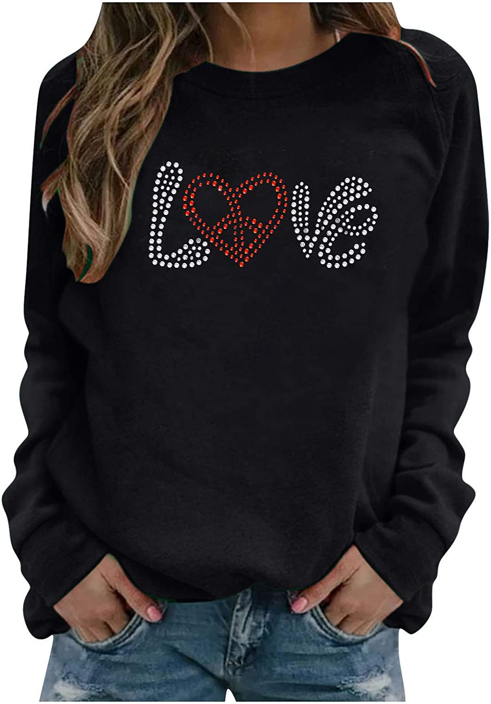 Fekuit Long Beach Mall Womens Pullover Sweatshirts Long Sweate Love Fort Worth Mall Sleeve Print