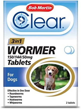 Clear by Bob Martin 3-in-1 Wormer Tablets for Dogs (Pack of 2 Tablets )