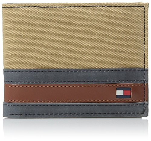Tommy Hilfiger Men's Leather Passcase Wallet with Removable Card Holder, Exeter Khaki, One Size