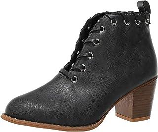 Botines Mujer Invierno Chelsea Zapatos Tacón Ancho Botas Tobillo Zapatos de Vestir Boots 4 Cm Cremallera Moda Comodos Verano Primavera