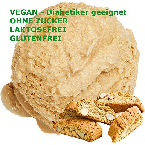 Cantuccini Geschmack Eispulver VEGAN - OHNE ZUCKER - LAKTOSEFREI - GLUTENFREI - FETTARM, auch für Diabetiker Milcheis Softeispulver Speiseeispulver Gino Gelati (Cantuccini, 333 g)