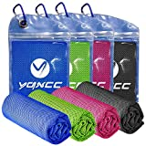 YQXCC 4 Pack Cooling Towel (47'x12') Ice Towel for Neck, Microfiber Cool Towel, Soft Breathable Chilly Towel for Yoga, Golf, Gym, Camping, Running, Workout & More Activities