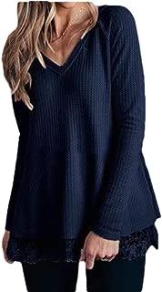 Macondoo Womens Jumper Tee Knitted Lace Trim Waffle Long Sleeve T-Shirt