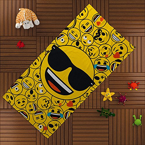 TI Home Emoji Yellow Bath Beach Towel for swim, pool, yoga and spa (75x150 cm), Luxury Colorful...